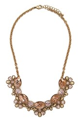 Forever 21 Faux Gem Statement Necklace Peach Gold