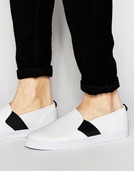 Asos Slip On Plimsolls In White Pu With Elastic Strap White Black