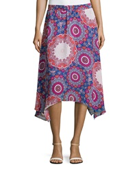 Laundry By Shelli Segal Asymmetric Floral Medallion Skirt Palace Blue Multicolor