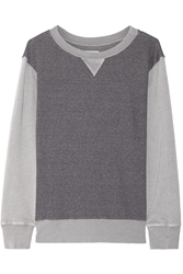 Current Elliott The Stadium Two Tone Cotton Blend French Terry Sweatshirt Gray