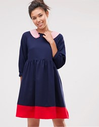 The Whitepepper Hand Collar Smock Dress Navy And Red And Pink