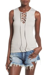 Women's Missguided Lace Up Rib Knit Tank