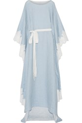 Rosamosario Amore In Kos Lace Trimmed Striped Silk Nightdress Azure