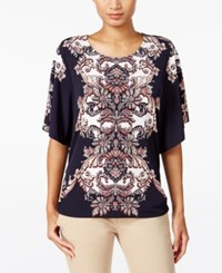 Jm Collection Printed Butterfly Sleeve Top Only At Macy's Blue Boho Baroque