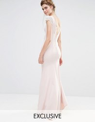 Jarlo Wedding Fishtail Maxi Dress With Lace Cap Sleeve And Button Back Pale Pink