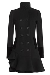 Alexander Mcqueen Virgin Wool Coat With Flared Hem Black
