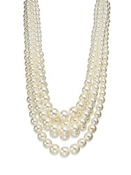 Saks Fifth Avenue Statement Faux Pearl Hammock Multi Strand Necklace 18 White