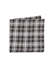 Saks Fifth Avenue Plaid Linen And Silk Blend Pocket Square Black White