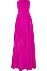 Milly Monica Pleated Silk Crepe Gown Fuchsia