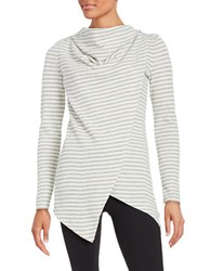 Marc New York Striped Cowlneck Top White