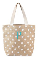 Cathy's Concepts Personalized Polka Dot Jute Tote White White P