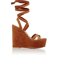 Gianvito Rossi Women's Ankle Tie Platform Wedge Sandals Brown