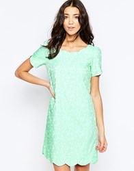 Traffic People Falling Flowers Scallop Dress In Daisy Jaquard Green