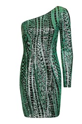 Topshop Sequin One Shoulder Dress Green