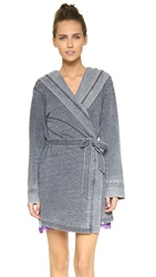 Honeydew Intimates Burnout French Terry Robe Black