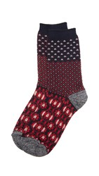 Madewell Pattern Colorblock Trouser Socks Navy Red
