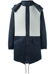Lc23 Quilted Panel Parka Coat Blue