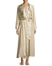 Donna Karan Glamour Silky Long Sleeve Wrap Front Robe Champagne
