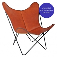 Hardoy Butterfly Chair In Cognac Leather Chairs And Stools Furniture Department The Conran Shop