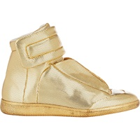 Maison Martin Margiela Stamped Leather 'Future' Ankle Strap Sneakers Gold