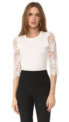 Leur Logette Lace Sleeve Top White
