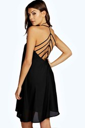 Boohoo Crepe Strappy Back Detail Skater Dress Black