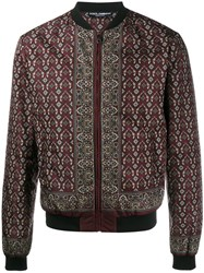 Dolce And Gabbana Floral Pistol Print Bomber Jacket Red