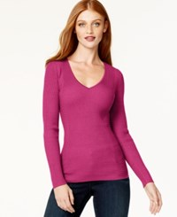 Inc International Concepts Petite Ribbed V Neck Sweater Only At Macy's Berry Ice