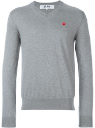 Comme Des Gara Ons Play Embroidered Heart Jumper Grey