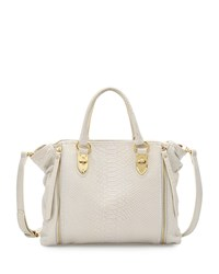 Charles Jourdan Oreet Snake Embossed Leather Tote Bag White