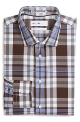 Calibrate Men's Big And Tall Trim Fit Non Iron Stretch Plaid Dress Shirt Brown Seal