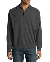Neiman Marcus Cashmere Three Button Polo Sweater Charcoal