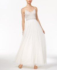 Adrianna Papell Beaded A Line Gown Ivory
