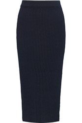 Iris And Ink Ribbed Cashmere Midi Skirt Blue