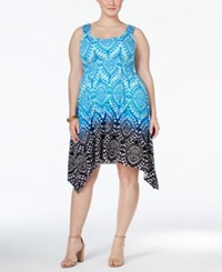 Styleandco. Style And Co. Plus Size Printed Sleeveless Handkerchief Hem Dress Only At Macy's Moroccan Song