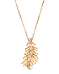 Mimi So Phoenix 18K Rose Gold Diamond Feather Pendant Necklace Small