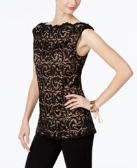 Inc International Concepts Lace Shell Only At Macy's Deep Black