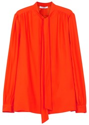 Givenchy Bright Orange Silk Blouse
