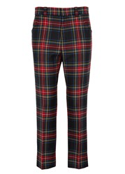 Gucci Tartan Cropped Wool Trousers Red