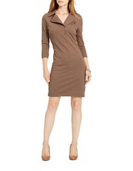 Lauren Ralph Lauren Moto Cotton Dress Brown