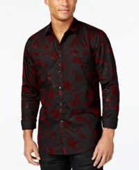 Inc International Concepts Men's Velvet Paisley Shirt Only At Macy's Black