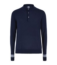 Hardy Amies Colour Block Merino Wool Polo Jumper Male Navy