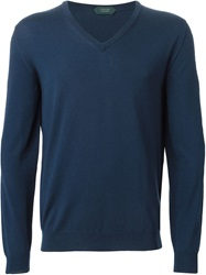 Zanone V Neck Sweater Blue