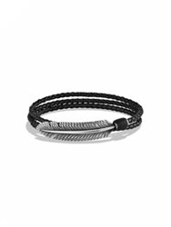 David Yurman Frontier Feather And Turquoise Triple Wrap Bracelet Black
