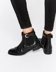 Carvela Slow Brogue Chelsea Boots Black Leather