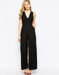 Love Jersey Jumpsuit With Cross Front And Flared Legs Black