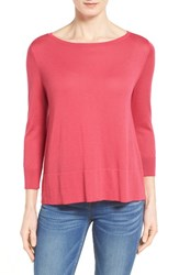 Women's Halogen Button Back Boatneck Sweater Red Chateaux