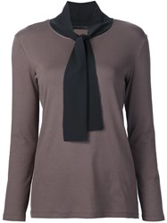 Fabiana Filippi Tie Neck Blouse Brown