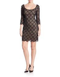 Guess Scalloped Fringe Bodycon Dress Nude Black