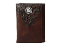 Ariat Overlay Scroll Concho Croc Embossed Trifold Wallet Brown Wallet